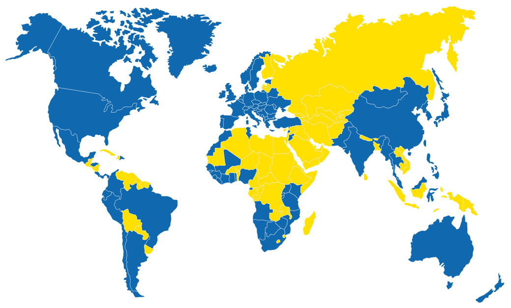 PWM signs can be found in all countries marked in blue
